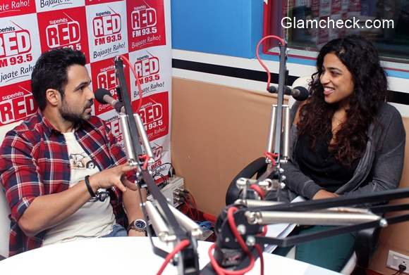 Emraan Hashmi with RJ Malishka for the promotion of Mr X at Red FM