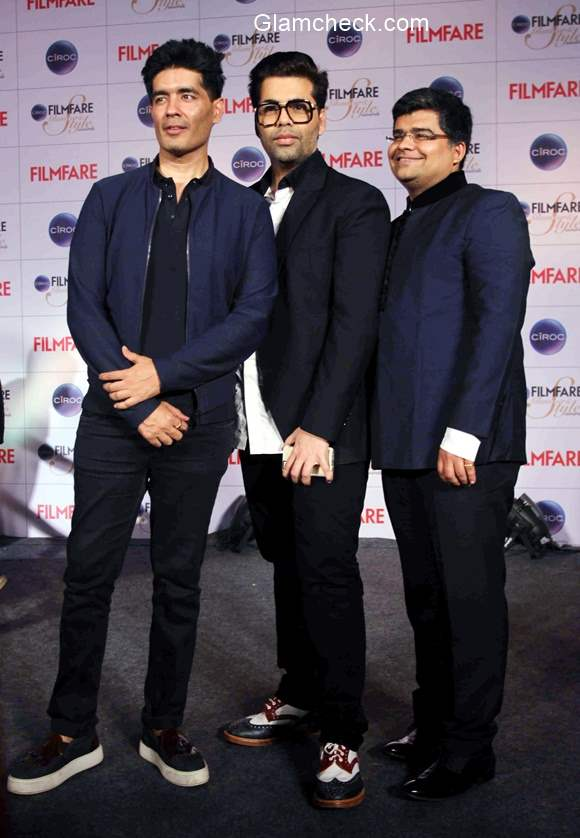Karan Johar and Manish Malhotra at the cover launch of Ciroc Filmfare Glamour Style Awards issue