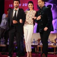 Ranbir Anushka and Karan at the trailer launch of Bombay Velvet