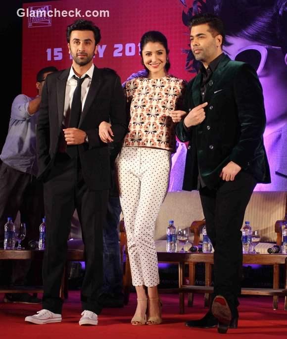 Ranbir Anushka and Karan at the trailer launch of Bombay Velvet