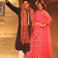 Shatrughan Sinha and Sonakshi Sinha walk the ramp for Manish Malhotra