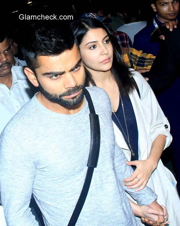 Virat Kohli and Anushka Sharma arrives at Mumbai International airport