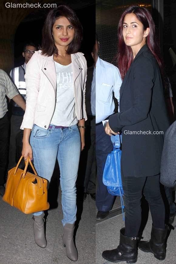 Celeb Travel styles - Priyanka Chopra and Katrina Kaif