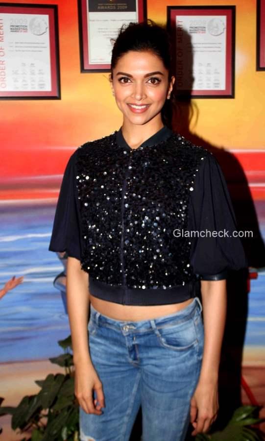 Deepika Padukone Black Crop Top blue denims