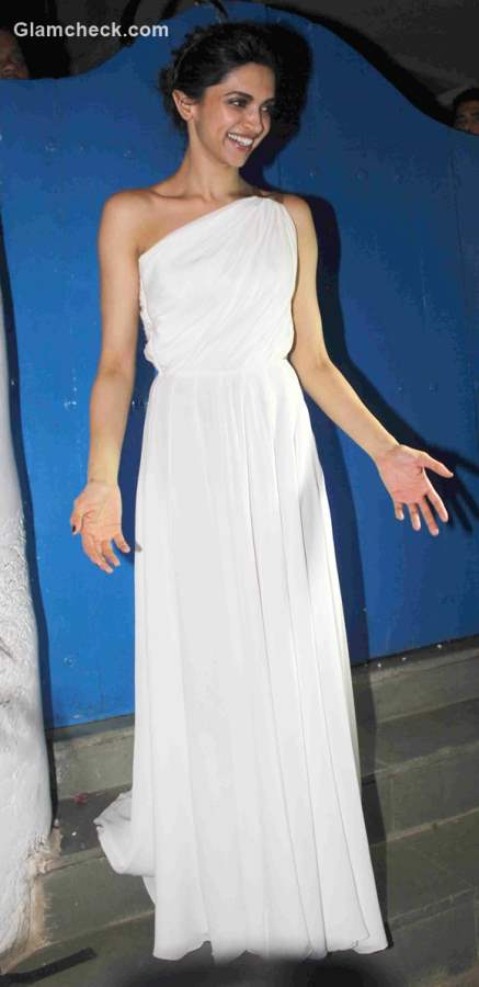 Deepika Padukone in White Gown at  success party of Piku
