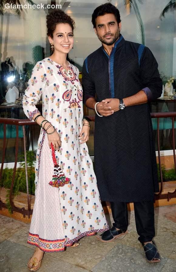 Desi look - Kangana Ranaut and R Madhavan at the promotion of Tanu Weds Manu Returns