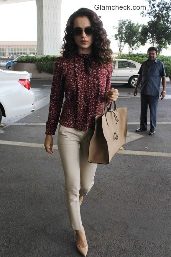 Kangana Ranaut Style Nude Colored Trousers with a Printed Blouse