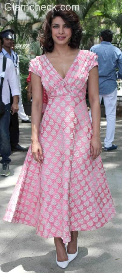 Priyanka Chopra in a Pallavi Singhee Heart Print Dress