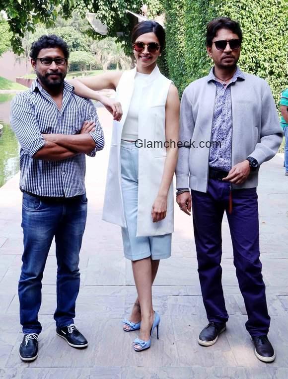 Shoojit Sircar Deepika Padukone and Irrfan Khan promote Piku in New Delhi