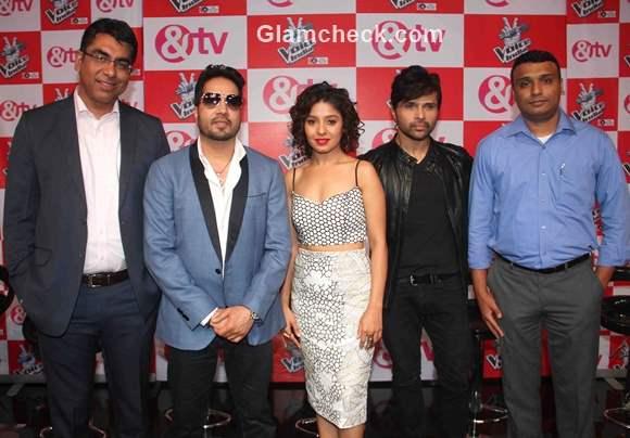 Sunidhi Chauhan Mika Singh and Himesh Reshammiya unveil The Voice India
