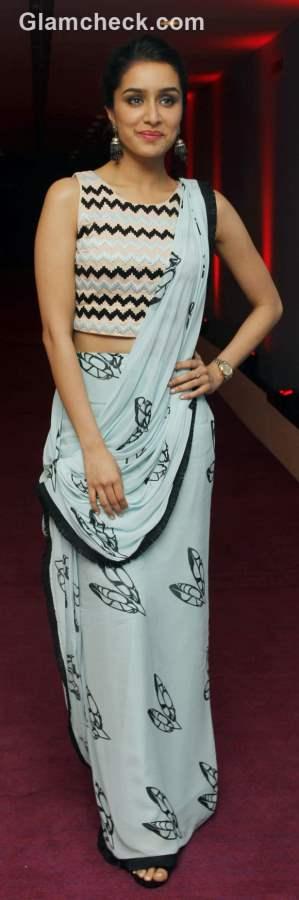 Unconventional Saree Draping - Shraddha Kapoor in Babita Malkani sari