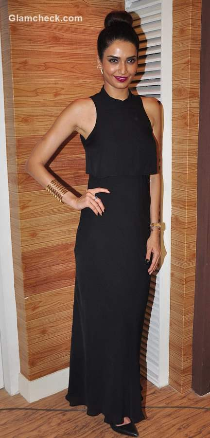 Karishma Tanna in Black Maxi Dress promotes Nach Baliye 7