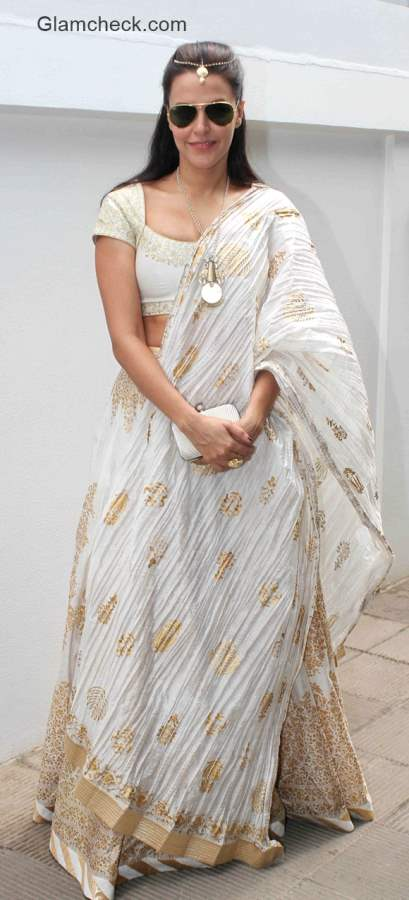 Neha Dhupia in Rohit Bal outfit at Nishka Lulla wedding brunch party