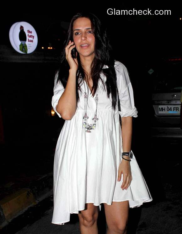 Neha Dhupia in white dress 2015
