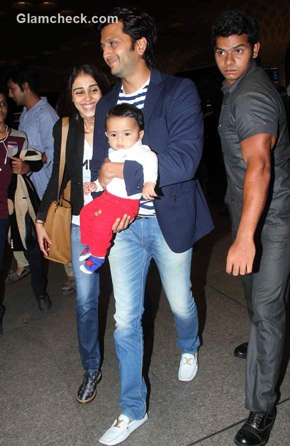Riteish Deshmukh with Genelia DSouza and son Riaan