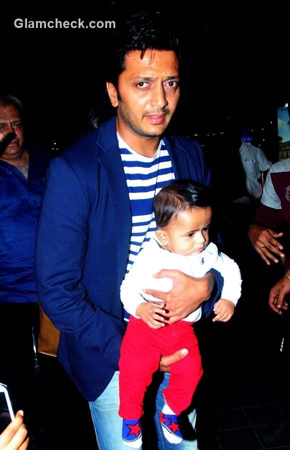 Riteish Deshmukh with son Riaan at Mumbai airport