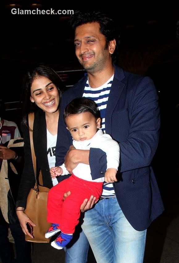 Riteish Deshmukh with wife Genelia DSouza and son Riaan at Mumbai airport