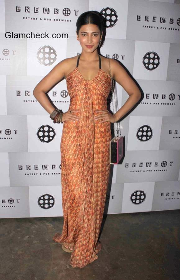 Shruthi Haasan during the launch of in house craft beers by Brewbot Eatery