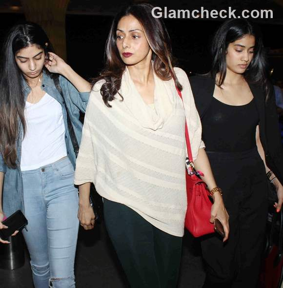 Sridevi spotted with family at Mumbai International Airport