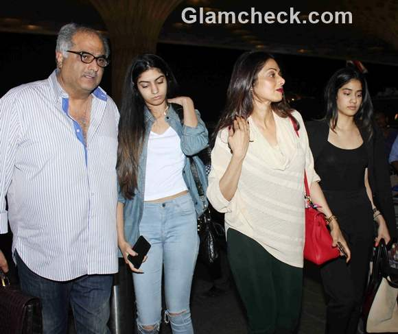 Sridevi spotted with family