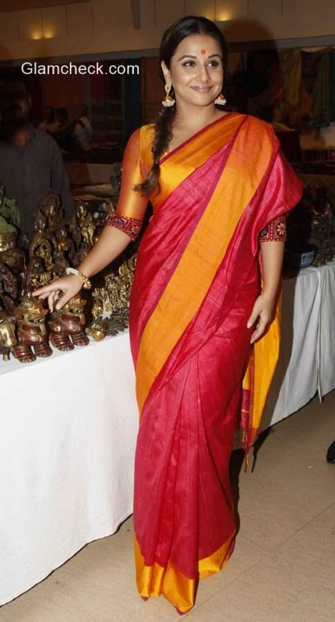 Vidya Balan in Orange Sari 2015
