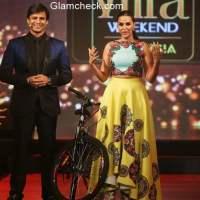 Vivek Oberoi and Neha Dhupia at the IIFA 2015 fashion extravaganza