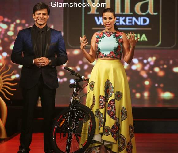 Vivek Oberoi and Neha Dhupia at the IIFA 2015 fashion extravaganza