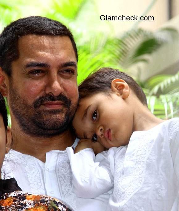 Aamir Khan wife son Azad Rao Khan during Eid-ad-Fitr celebrations