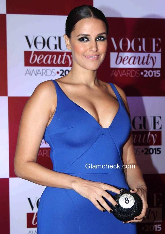 Neha Dhupia In Gauri And Nainika Gown At The Vogue India