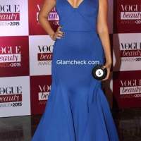 Neha Dhupia in Gauri and Nainika gown at the Vogue India Beauty Awards 2015
