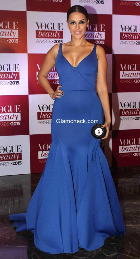Neha Dhupia in Gauri and Nainika gown at the Vogue India Beauty Awards 2015