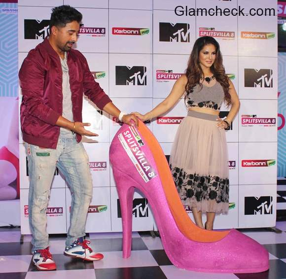 Rannvijay Singh and Sunny Leone during the press conference of MTV Splitsvilla 8