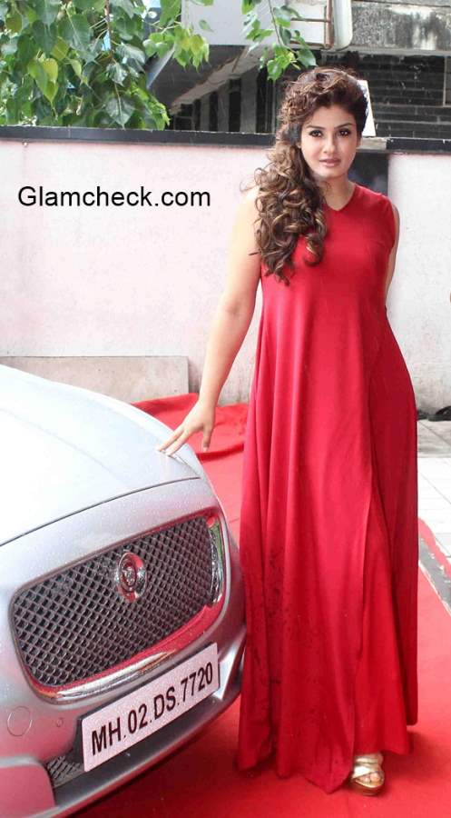 Raveen Tandon in Red Gown