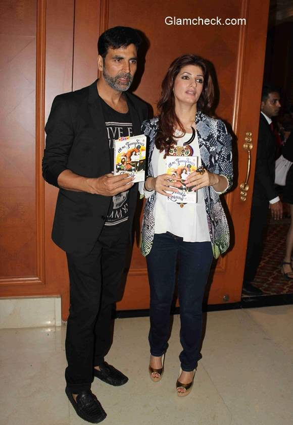 Twinkle Khanna along with Akshay Kumar during the launch of her book Mrs Funnybones