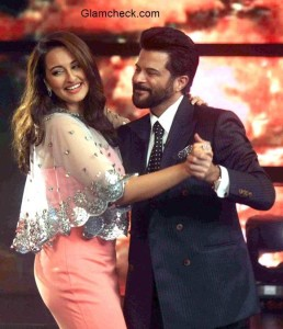 Anil Kapoor with Sonakshi Sinha on the sets of Indian Idol Junior