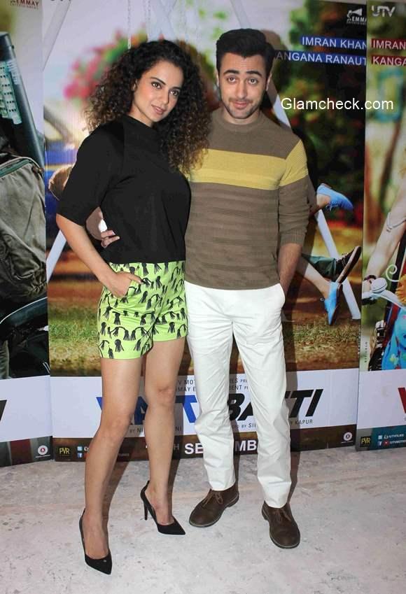 Kangana Ranaut and Imran Khan during Katti Batti promotion