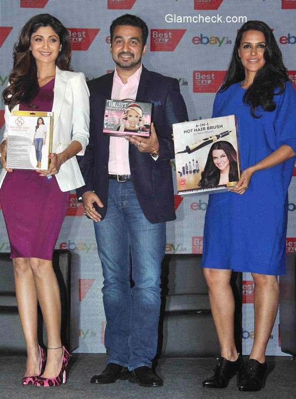 Raj Kundra Shilpa Shetty and Neha Dhupia announce partnership between Best Deal TV and eBay