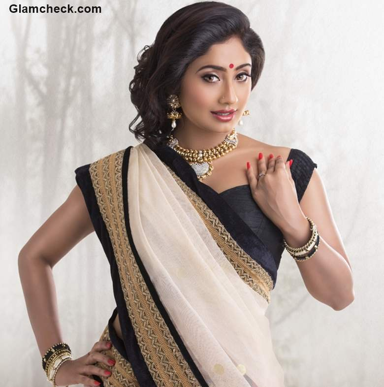 Indian Festival Look with Black And White Combination