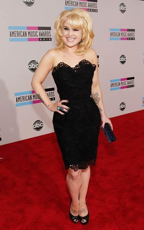 Kelly Osbourne black lace dress