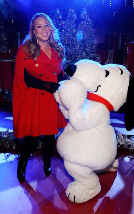 Mariah Carey joins Snoopy to tape Christmas special