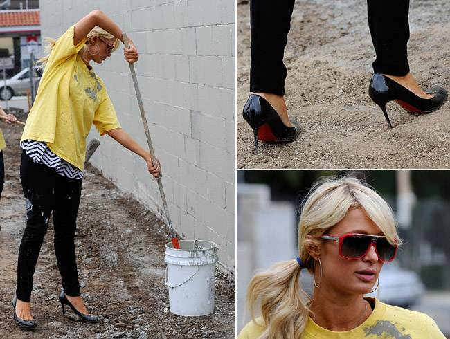 Paris Hilton does community service in style