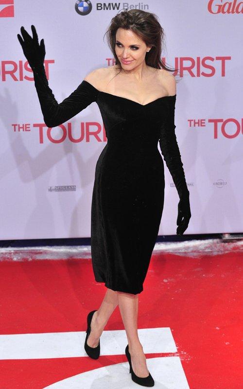 Angelina Jolie in black Versace dress  The Touris Berlin Premiere