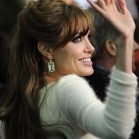 Angelina Jolie looking elegant stylish in Versace Angora Gown