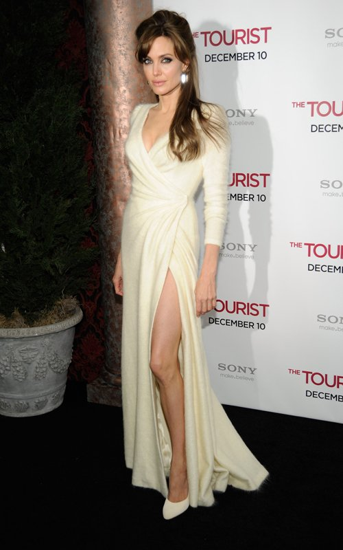 Angelina Jolie looking stylish in ivory Versace Angora Gown