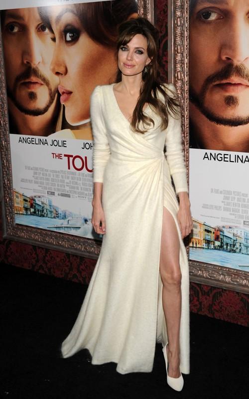 Angelina Jolie wearing Versace Angora Gown