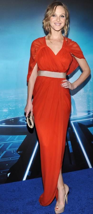 Beau Garrett burnt orange gown Tron Legacy LA Premiere
