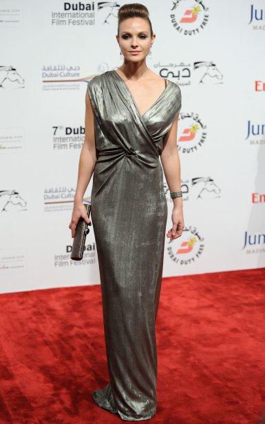 Beau Garrett silver gown Tron Legacy Dubai Premiere