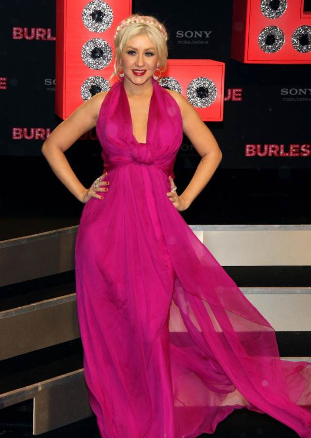 Christina Aguilera pink gown at Berlin Burlesque Premiere