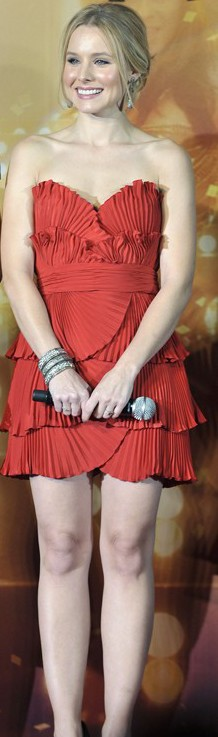 Kristen Bell red hot in Azzaro dress