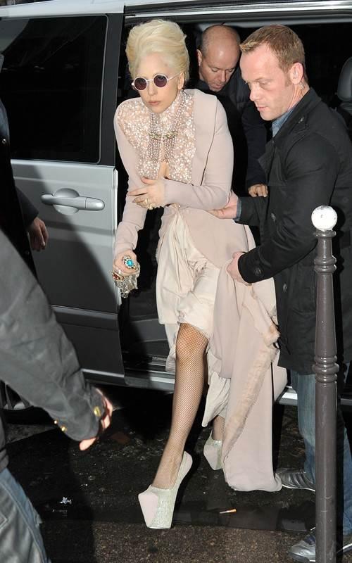Lady GaGa stunning in cleavage bearing Jan Taminiau Gown at Paris